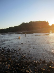 sunset-wading-des-moines-river-horns-ferry-hideaway
